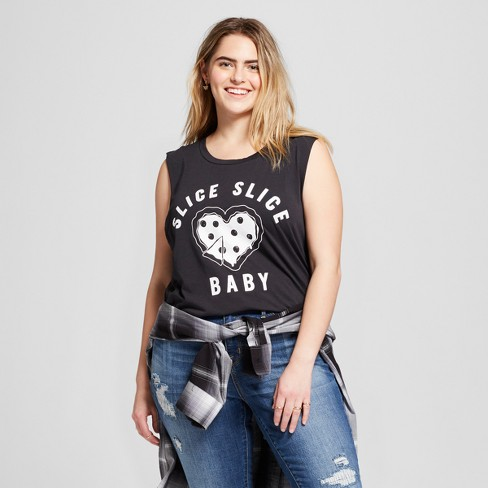 "Women's Plus Size ""Slice, Slice Baby"" Pizza Graphic Muscle Tank Top - Fifth Sun  - Charcoal - image 1 of 2"