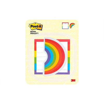 """Post-it 3"""" x 3"""" Printed Notes 2 Pads/Pack, 30 Sheets/Pad - Rainbow Design"""