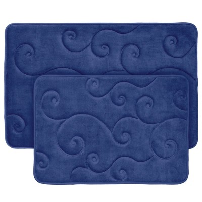 2pc Swirl Memory Foam Bath Mat Set - Yorkshire Home