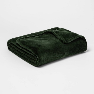 Full/Queen Microplush Bed Blanket Green - Threshold™