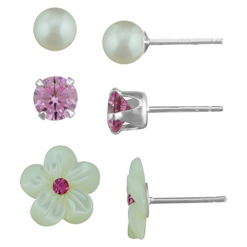 Silver Plated Cubic Zirconia Pearl Flower and Rose Crystals Stud Earrings Set - 5mm - image 1 of 1