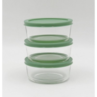 2 Cup 3pk Round Glass Food Storage Container Set Light Green - Room Essentials™