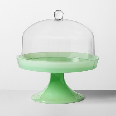 Milk Glass Cake Stand with Cloche Green - Hearth & Hand™ with Magnolia
