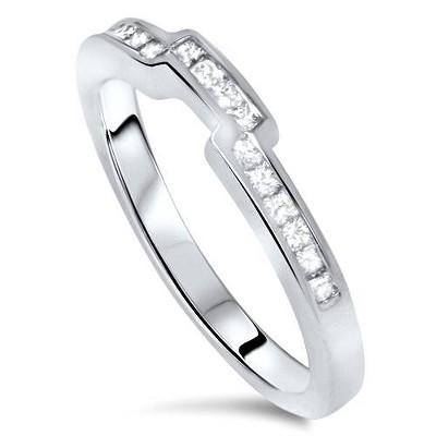 Pompeii3 3/8ct Princess Cut Curved Diamond Ring 14k White Gold
