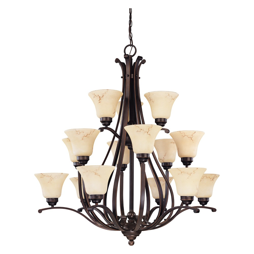 Image of Aurora Lighting 15 Light Chandelier Copper Espresso