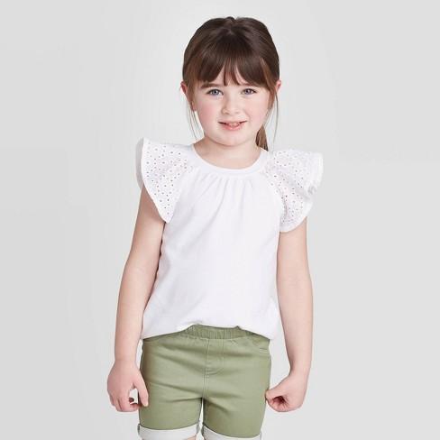 Toddler Girls' Short Sleeve Eyelet T-Shirt - Cat & Jack™ White - image 1 of 3