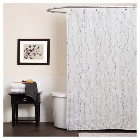 Romana Floral Ruffle Lines Shower Curtain White