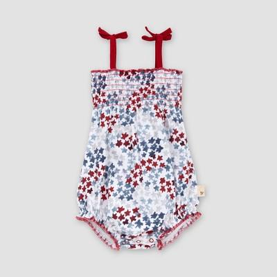 Burt's Bees Baby® Baby Girls' Organic Cotton Night Sky Smocked Bodysuit - White 0-3M