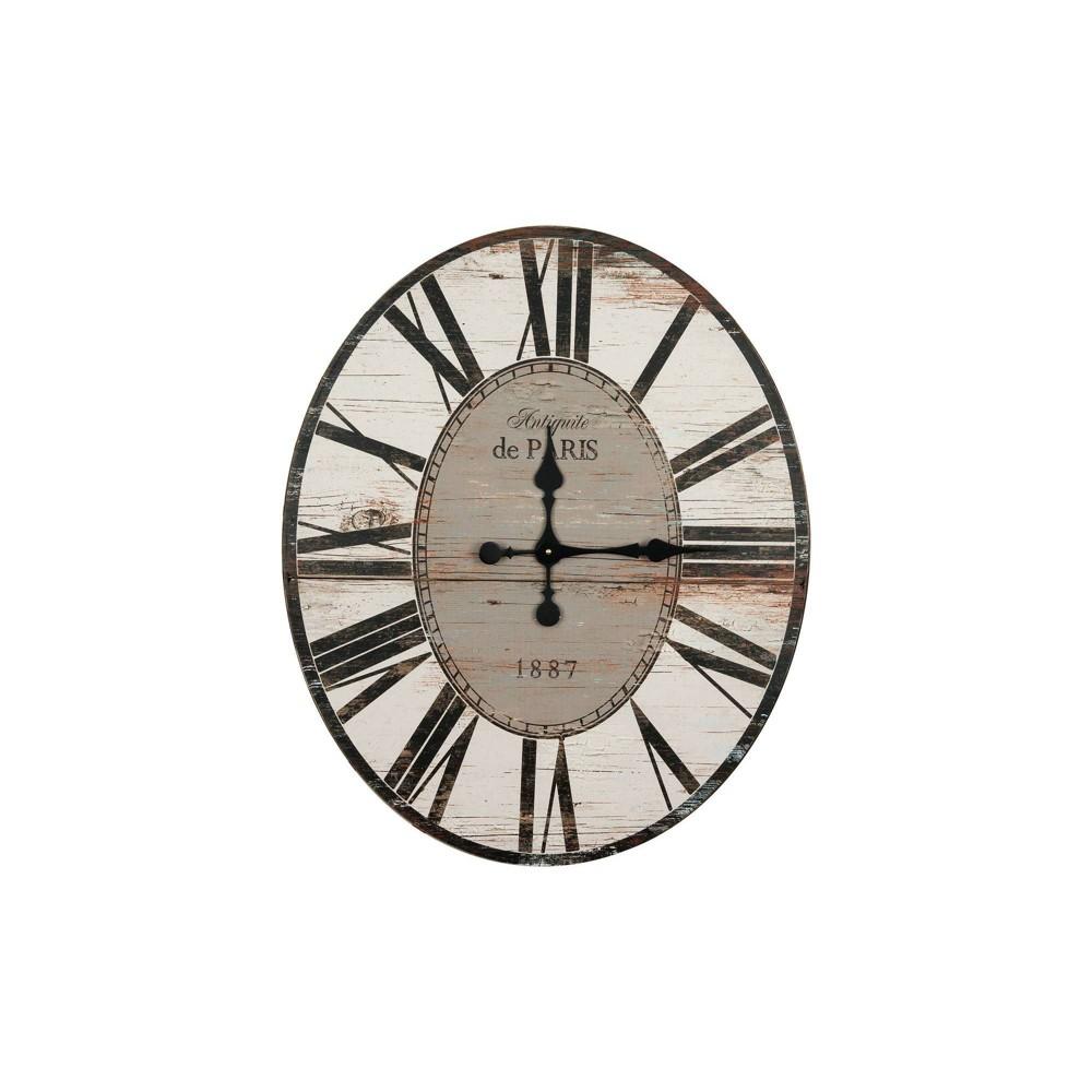 29 34 Oval Distressed Wood Wall Clock White Black 3r Studios