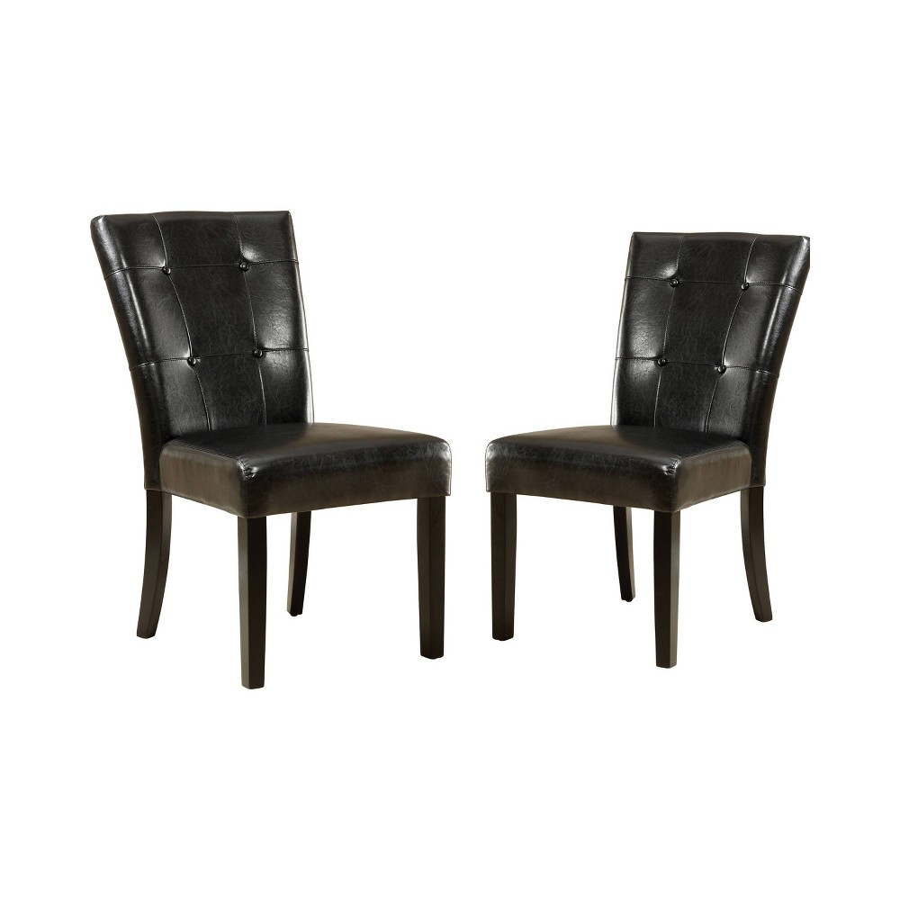 Set of 2 Flinton Button Tufted Leatherette Padded Side Chair Espresso - ioHOMES