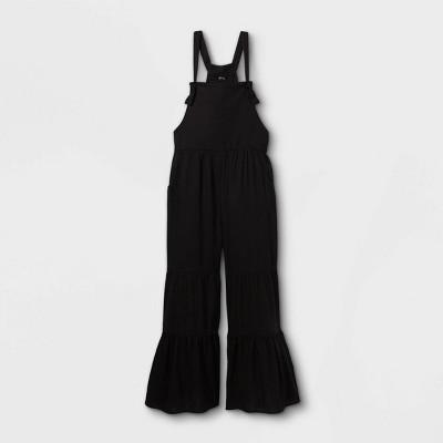 Girls' Tiered Leg Overalls - art class™ Black