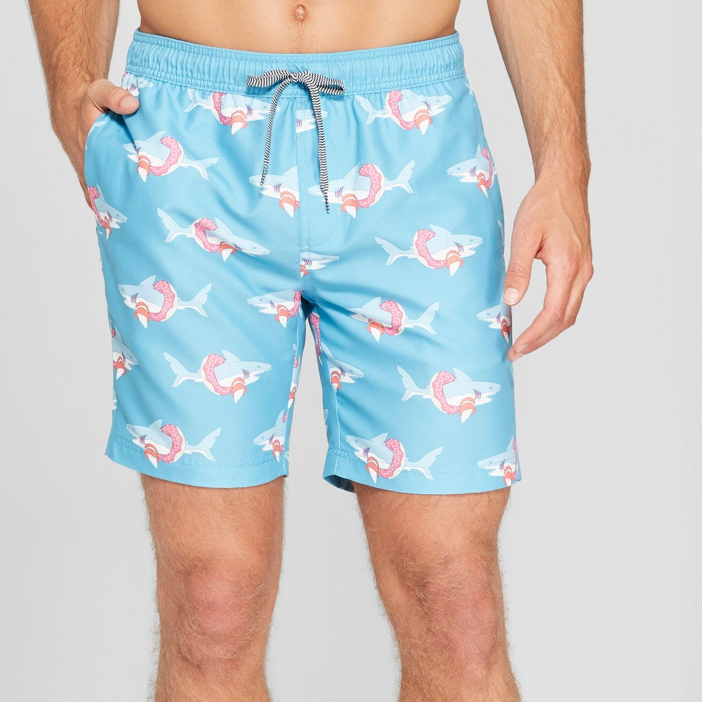 Trinity Collective Men's Striped 7.5 Shark Patterned Elastic Waist Board Shorts - Teal XL, Blue