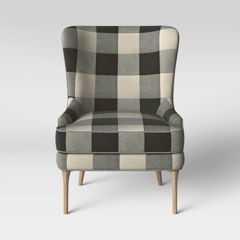 Cheswold Wingback Chair Check Black/White - Threshold™ - image 1 of 4