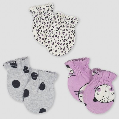 Gerber® Baby Girls' 3pk Mittens Cats - Purple/Gray 0/3M
