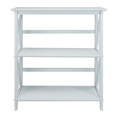 Casual Home Montego 3 Tier Open Shelf X Design Wooden Bookcase, Wood (White) : Target