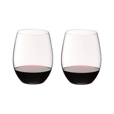 Riedel O Wine Tumbler Stemless Cabernet or Merlot Dishwasher Safe Wine Glassware, Set of 2, Clear