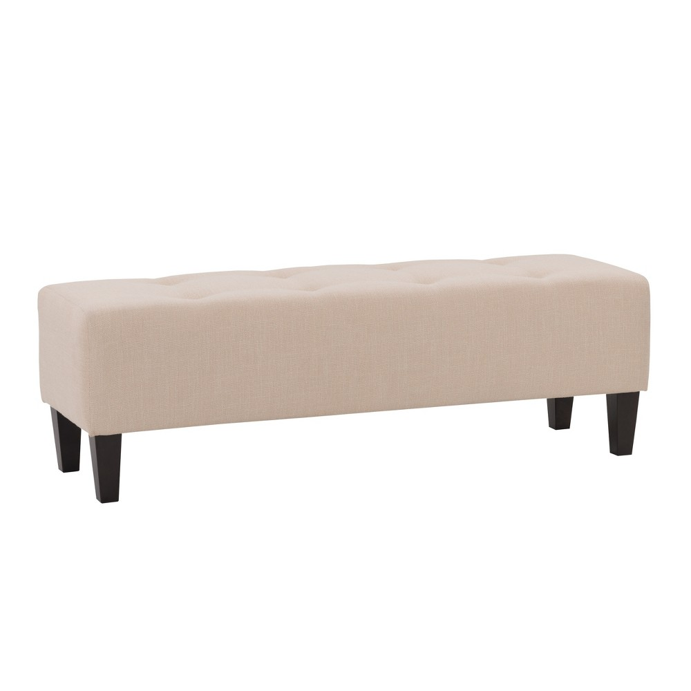 Rosewell Button Tufted Fabric Accent Bench Cream (Ivory) - CorLiving