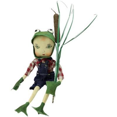 """Gallerie II 13"""" Sitting """"Fergus"""" the Frog Boy Easter Spring Display Figure"""