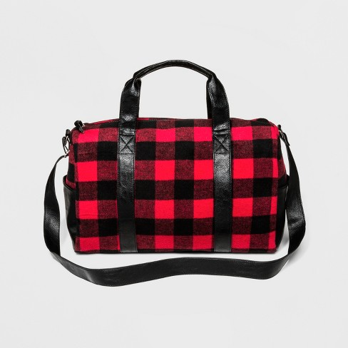 Cesca Women's Plaid Duffel Bag - Red - image 1 of 4