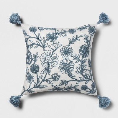 Blue Embroidered Floral Square Throw Pillow - Threshold™
