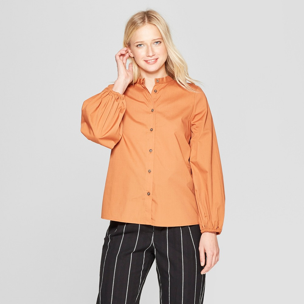 Women's Long Sleeve Button-Up Blouse - Who What Wear Adobe M