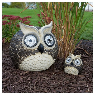 Mother & Baby Solar Garden Pal Owl Set - 12 and 5  LED - Smart Solar