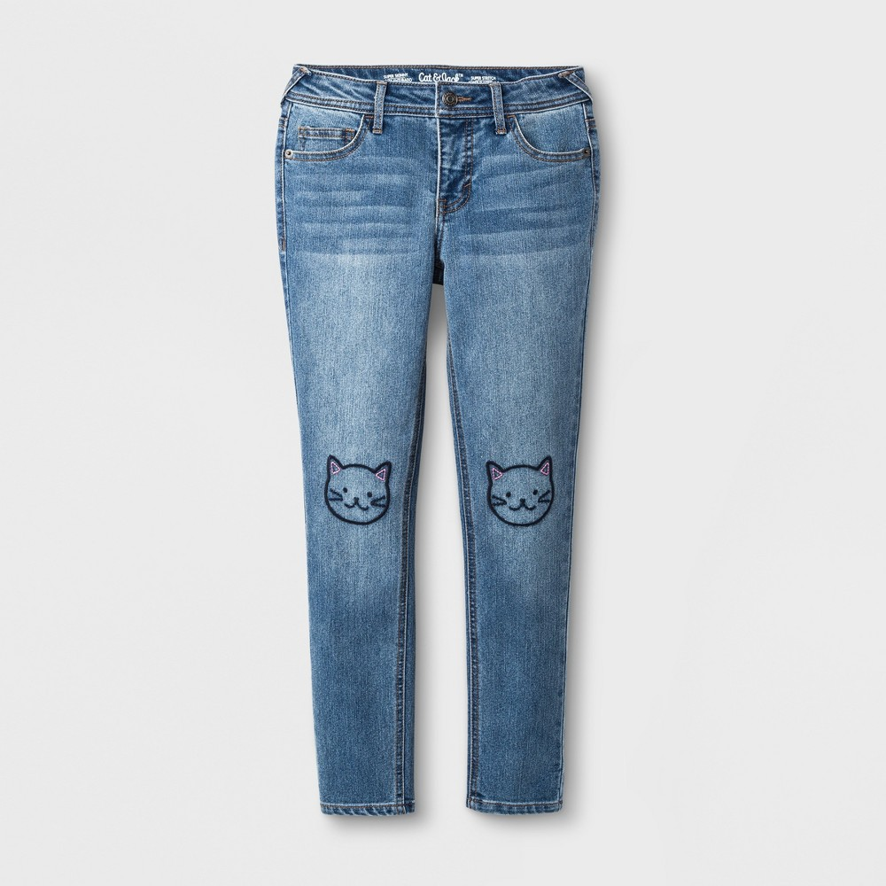 Girls' Skinny Embroidered Cat Jeans - Cat & Jack Medium Wash 14, Blue