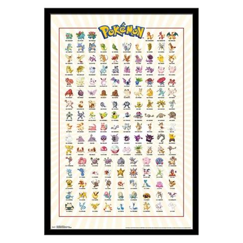 Pokemon - Kanto Grid Framed Poster Trends International : Target