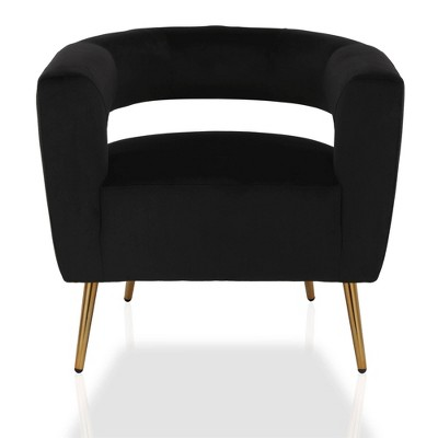 Taylor Accent Chair with Brass Golden Legs Velvet Black - CosmoLiving by Cosmopolitan