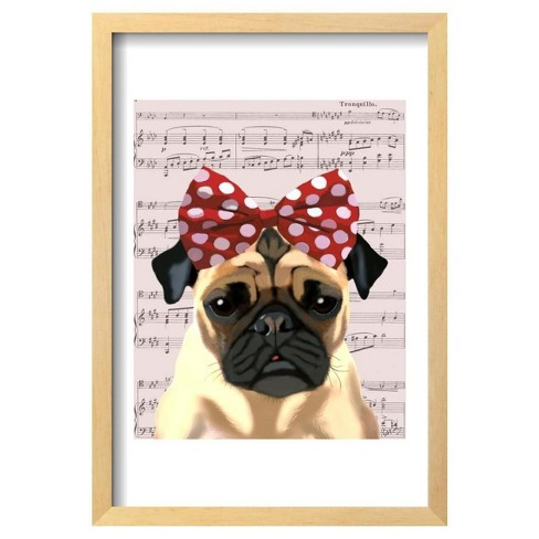 "Pug with Red Spotty Bow On Head by Fab Funky Framed Poster 13""x19"" - Art.Com - image 1 of 4"