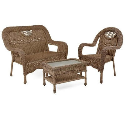 Prospect Hill Wicker Settee Chair And Coffee Table Set - Plow u0026 Hearth  Target  sc 1 st  Target & Prospect Hill Wicker Settee Chair And Coffee Table Set - Plow ...