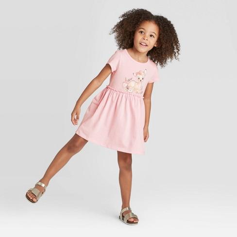 Toddler Girls' Short Sleeve Disney Bambi Dress - Heather Pink - image 1 of 4