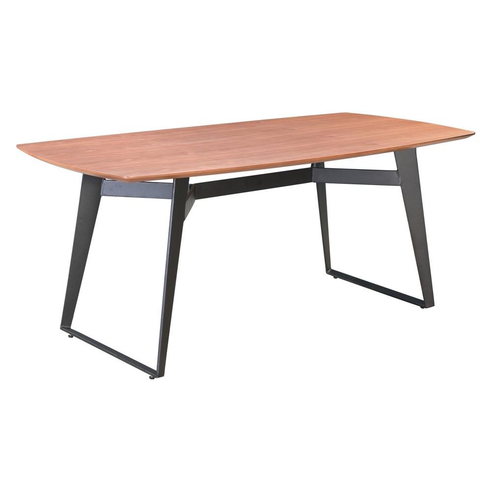 71Modern Industrial Dining Table Walnut/Black (Brown/Black) - ZM Home