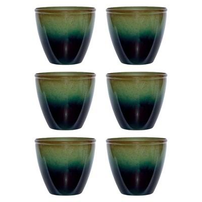 "Suncast Seneca 16"" Ombre Resin Plant Flower Planter Pot, Green/Blue"