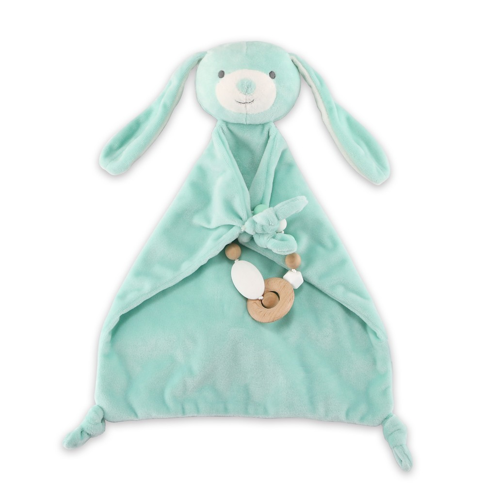 The Peanut Shell Security Plush with Teether Bunny - Aqua (Blue)