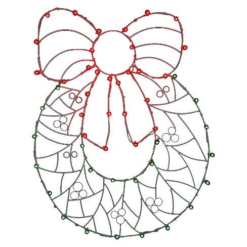 "48"" x 36"" Christmas Wreath n' Bow Wire Motif - image 1 of 1"