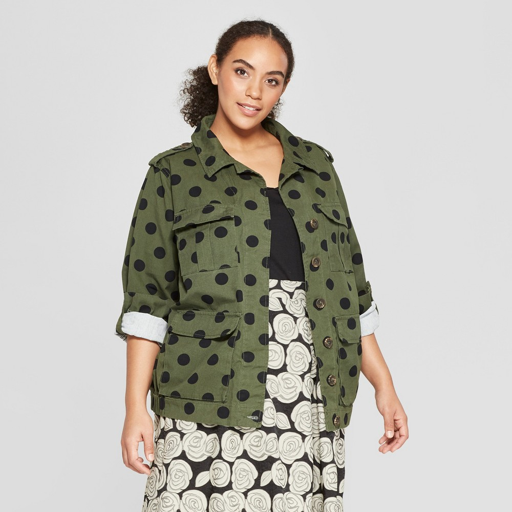 Women's Plus Size Polka Dot Utility Jacket - Who What Wear Olive/Black 2X, Green