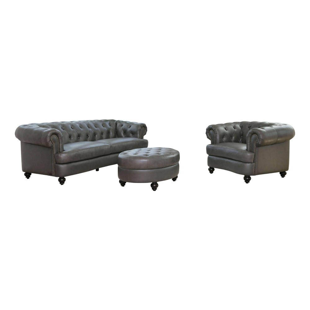 Image of 3pc Harlow Tufted Top Grain Leather Seating Set Gray - Abbyson Living