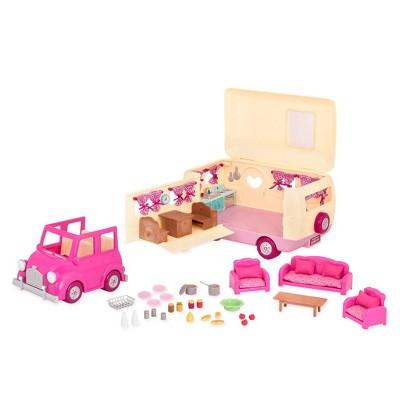 Li'l Woodzeez Camper Playset with Pink Toy Car 40pc - Happy Camper
