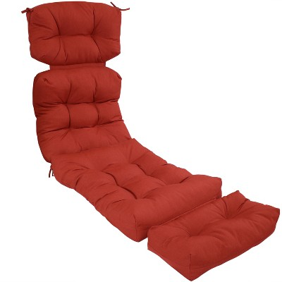 Olefin Tufted Indoor/Outdoor Chaise Lounge Chair Cushion Red - Sunnydaze Decor