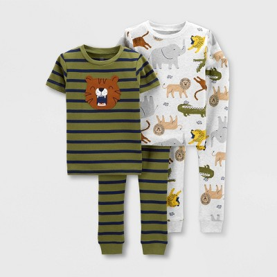 Baby Boys' 4pc Tiger Snug Fit Pajama Set - Just One You® made by carter's Green 18M
