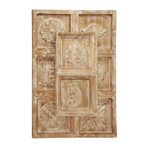 32 X 48 Large Rectangular Natural Wood Wall Decor With Carved Framed Flowers And Whitewash Finish Olivia May Target