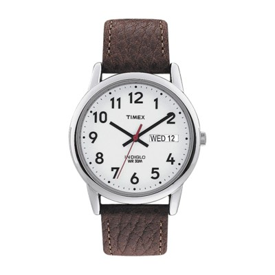 Men's Timex Easy Reader Watch with Leather Strap - Silver/Brown T20041JT