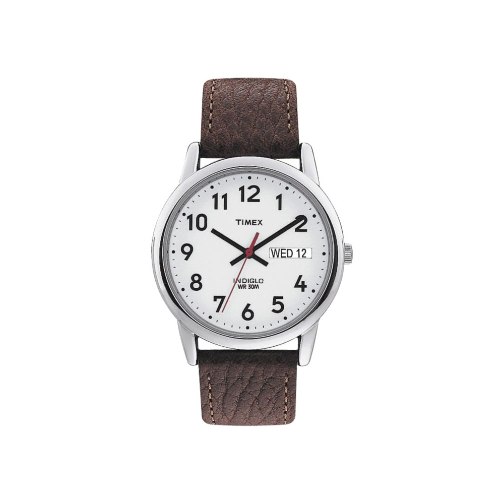 Men 39 S Timex Easy Reader Watch With Leather Strap Silver Brown T20041jt