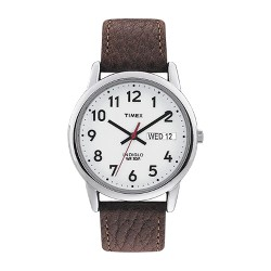 Men's Timex Easy Reader® Watch with Leather Strap - Silver/Brown T20041JT