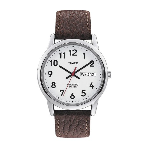 a9b0f400c Men's Timex Easy Reader® Watch with Leather Strap - Silver/Brown T20041JT