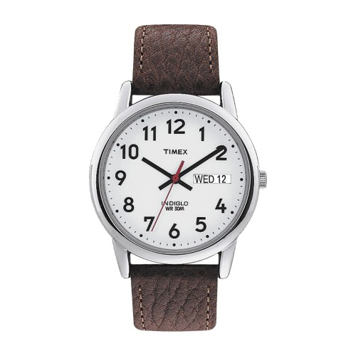 Men's Timex Easy Reader Watch with Leather Strap - Silver/Brown T20041JT, Size: Small