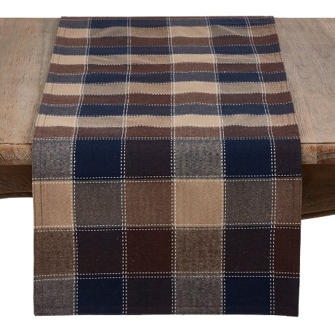 Saro Lifestyle Stitched Plaid Design Cotton And Poly Blend Table Runner - image 1 of 3