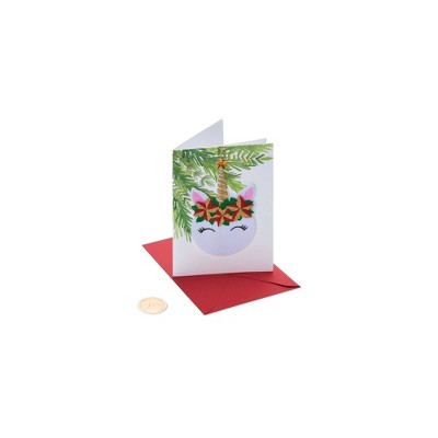 Christmas Card Floral Unicorn - PAPYRUS