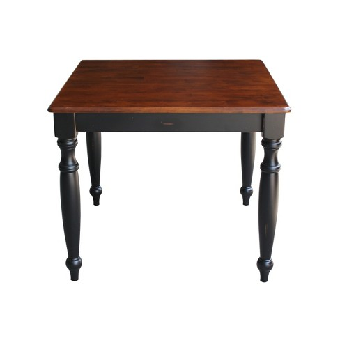 Solid Wood Top Dining Height Table With Turned Legs Black Brown International Concepts Target